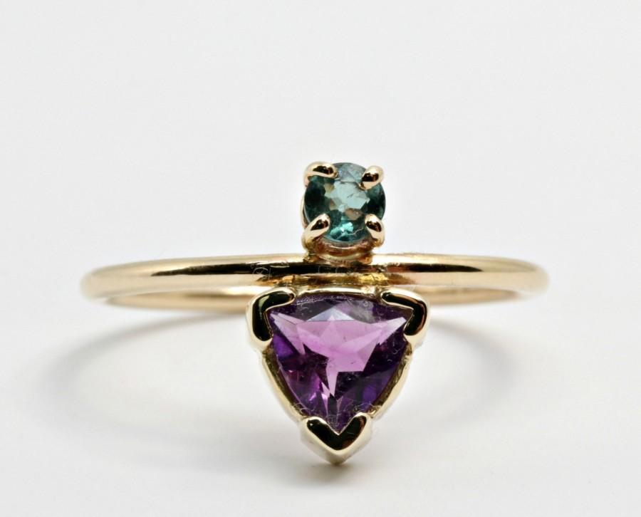 Свадьба - Trillion Cut Amethyst and Alexandrite Ring, 14k Gold Engagement Ring, June Birthstone, Aquamarine, Sapphire, Tourmaline