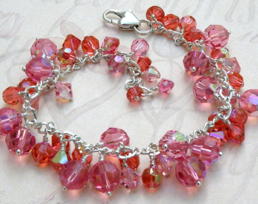 Mariage - Pink Indian Sapphire Bracelet, Pink and Orange Swarovski Crystals Sterling Silver Chain, Coral Cluster Bracelet, October Birthday Gift