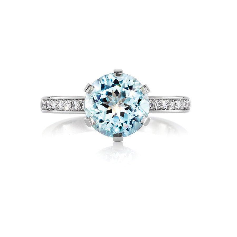 Wedding - Aquamarine solitaire engagement ring, diamond ring, platinum, white gold, light blue, aquamarine vintage, unique engagement ring, diamond