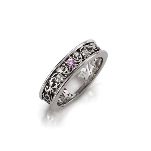 Mariage - pink sapphire filigree engagement ring, white gold,  platinum, wedding band, Diamond, sapphire wedding, filigree engagement, custom, unique
