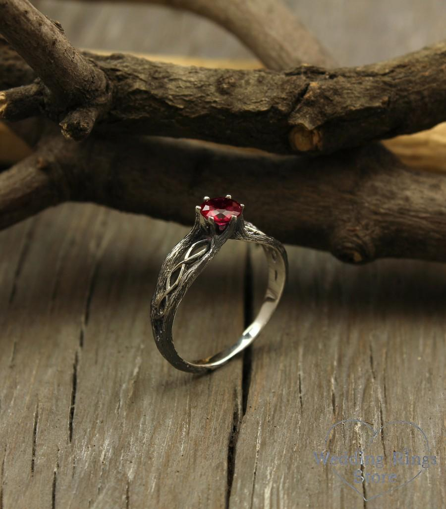 Wedding - Infinity branch engagement ring with ruby, Dainty twig engagement ring, Women's infinity engagement ring, Women's twig ring, Unusual ring