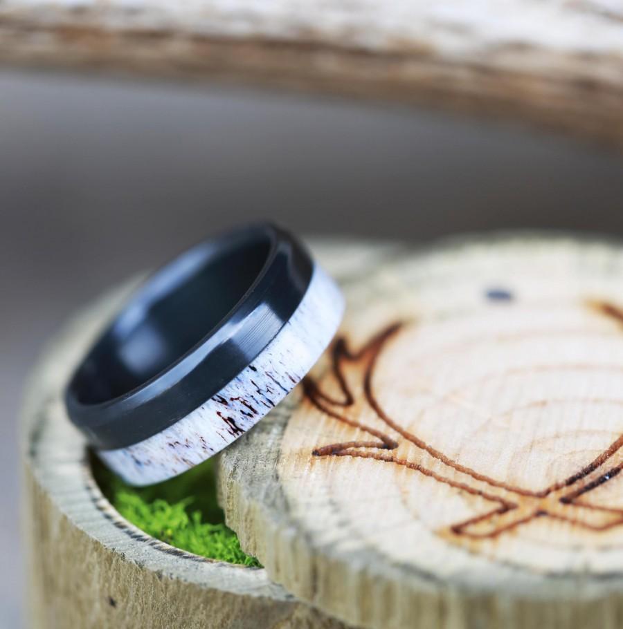 "Wedding - The ""Tanner"" - Elk Antler Wedding Ring Set on Black Zirconium - Staghead Designs"
