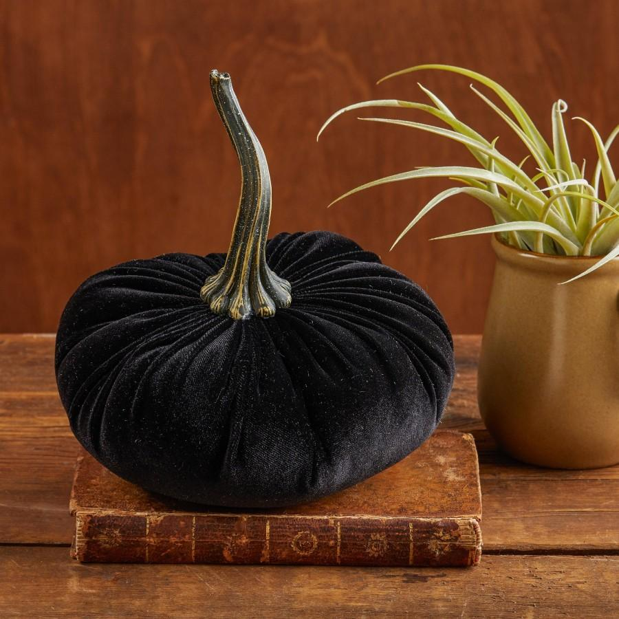 Mariage - Large Velvet Pumpkin Black, home decor trends, Fall wedding centerpiece, modern rustic wedding decor, shabby chic decor, best selling item