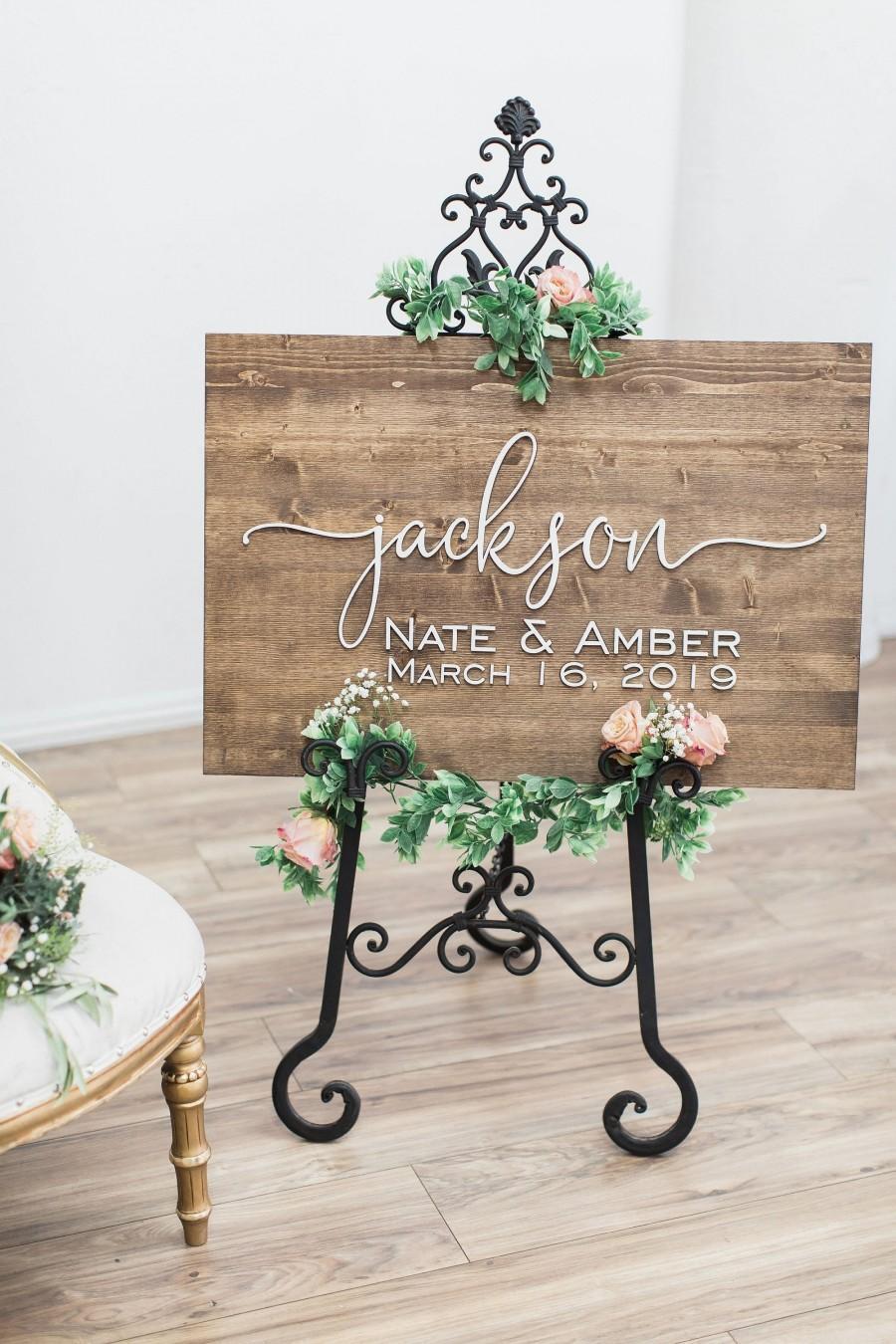 Mariage - Wedding Welcome Sign, Wedding Sign, Rustic Wood Sign, Wedding Signage, Wedding Name Sign, Welcome Sign Wedding, Custom Wedding Sign