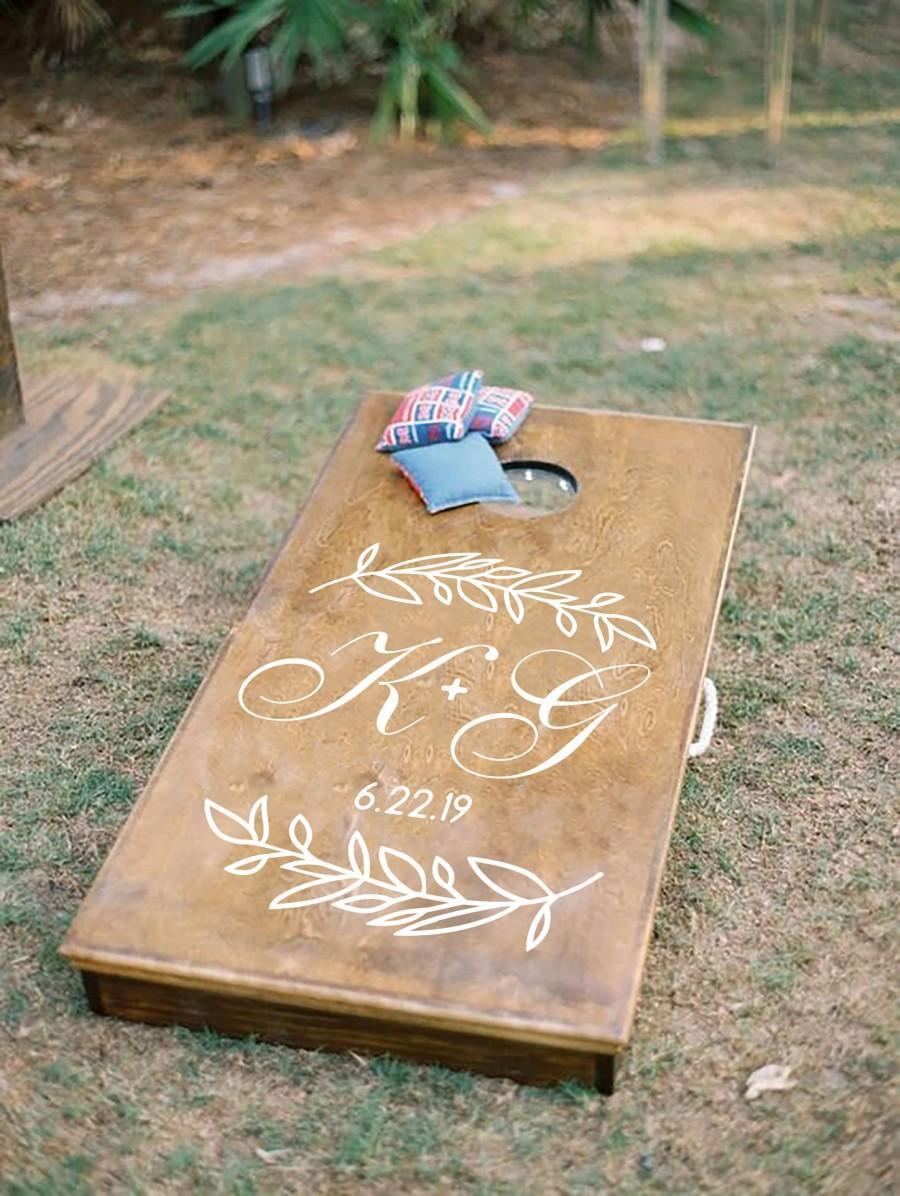 Wedding - Cornhole Board Decal, Wedding Monogram,  Wedding Game