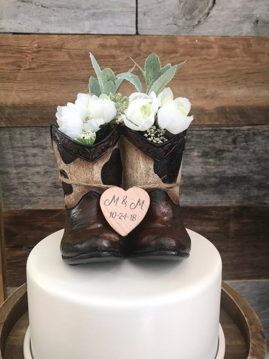 Свадьба - Rustic Wedding Cake Toppers / Cowboy Wedding Cake Topper / Country Wedding/Rustic Wedding / Cowboy Boots Wedding