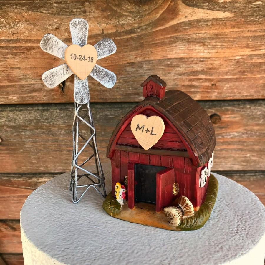 زفاف - Farmhouse Wedding Cake Topper /  Barn Wedding Cake Topper / Country Wedding Cake Topper / Farm cake topper / Rustic Cake