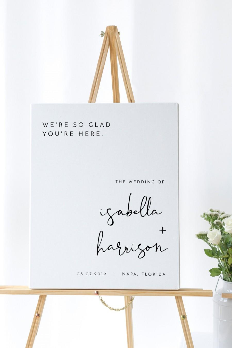 Свадьба - Adella - Minimalist Wedding Welcome Sign Template, Modern Wedding Welcome Sign, Printable Welcome Sign Wedding, Templett Wedding Sign