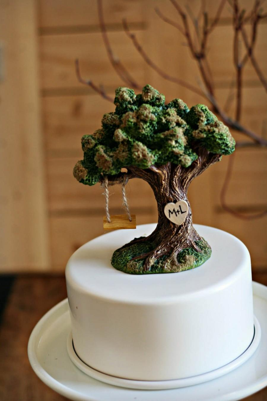 Свадьба - Tree Initial Wedding Cake Toppers / Wedding Cake Topper Garden  / Wedding / Rustic Wedding / Nature Wedding / Grow Old Along with me /