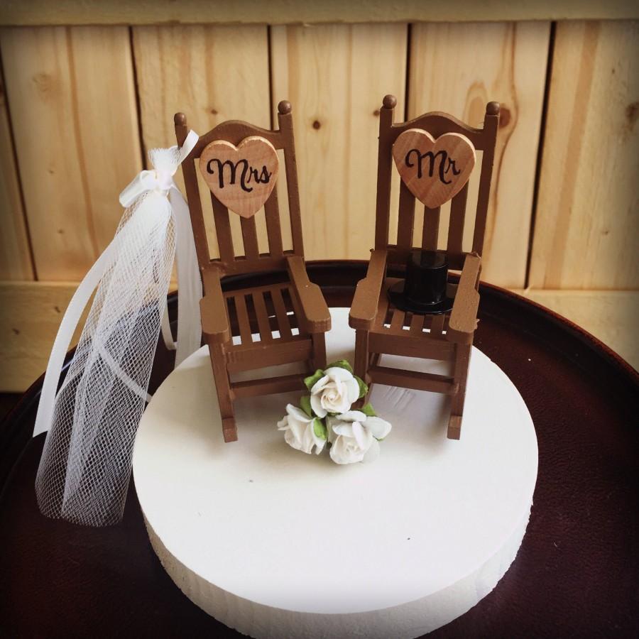 Wedding - Rustic  Wedding Cake Toppers / Wedding Cake Topper Cabin Chairs / rocking chair Wedding/ Rustic Wedding / Camping Wedding
