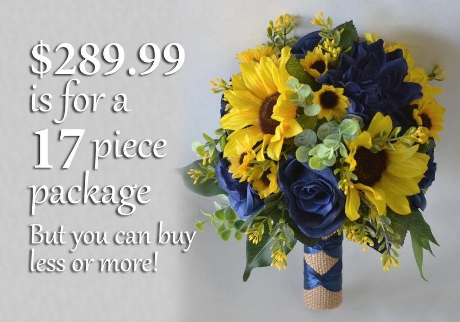 Mariage - Wedding Bouquet, Bridal Bouquet, Bridesmaid Bouquet, Silk Flower Bouquet, Wedding Flower, yellow, navy, Navy blue, sunflower Lily of Angeles