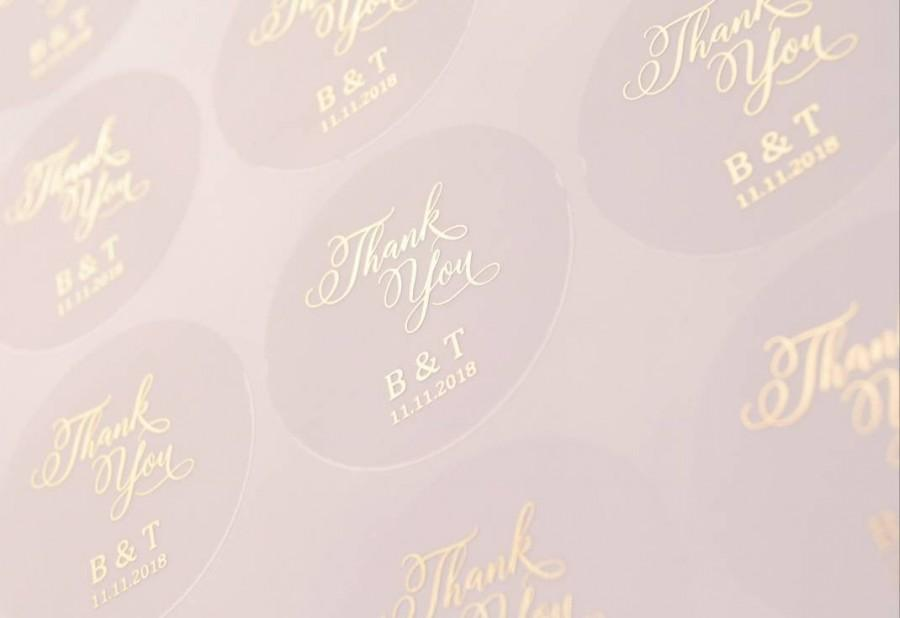 Hochzeit - Thank You Stickers, Thank You Labels, Thank You Foil Labels, Wedding stickers, Wedding Thank You, Frosted Thank you Stickers, Foil Thank You