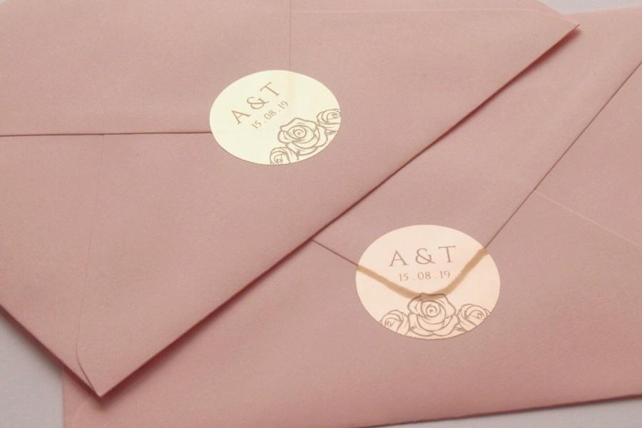 Mariage - Full Foil Wedding Stickers, Semi Transparent Labels, Rose Gold Favour Stickers, Almost Clear Stickers, Personalised Envelope Seals, D15