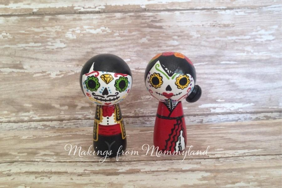 Mariage - Day of the Dead, Dia de los Muertos, Peg Doll, Peg People, Sugar Skull, Halloween Decor, Home Decor, Wedding Cake Topper, Skeleton, Gift