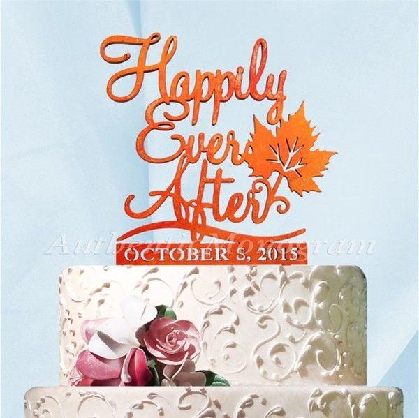 Hochzeit - Wedding Cake Topper - Custom HAPPILY EVER AFTER Cake Topper  - Fall Wedding cake topper, Autumn Wedding Cake Topper