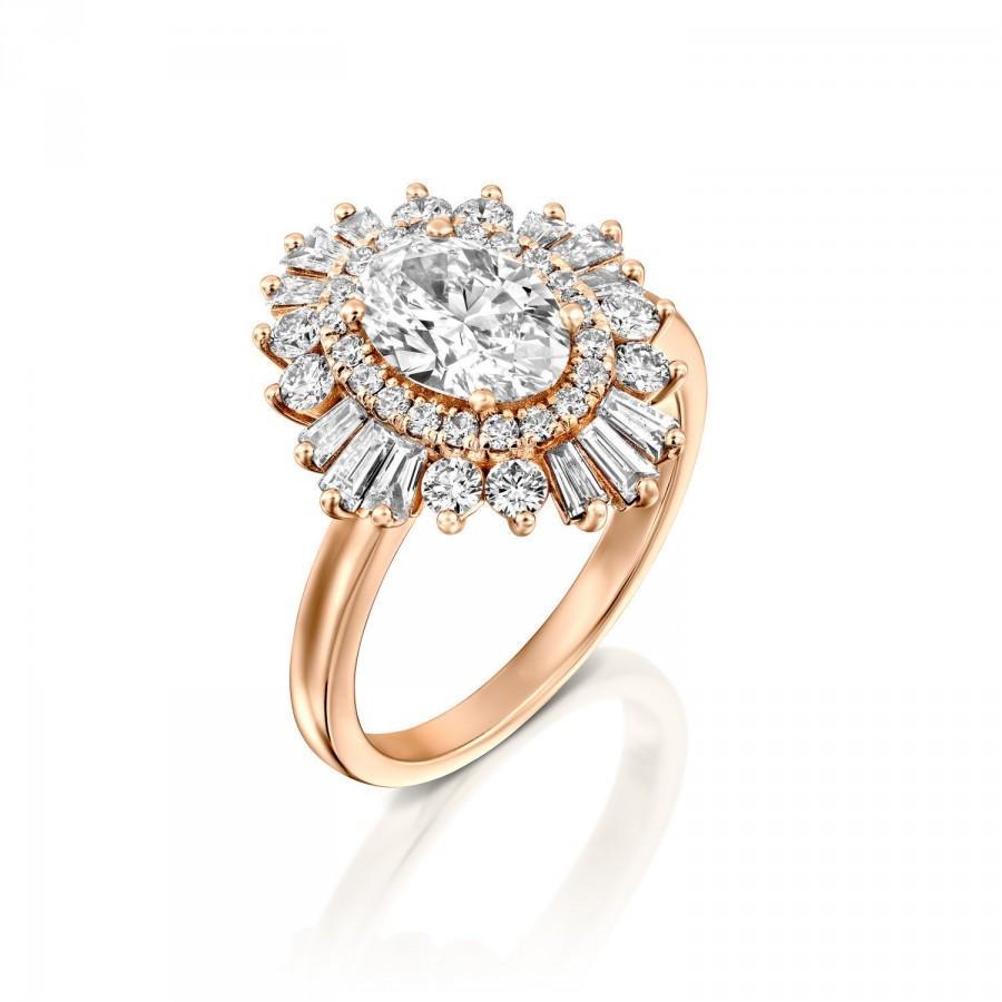 Wedding - Moissanite Engagement Ring, Art Deco Engagement Ring, Vintage Engagement Ring, Gatsby Ring, Baguette Diamonds Halo, Oval Diamond Halo Ring