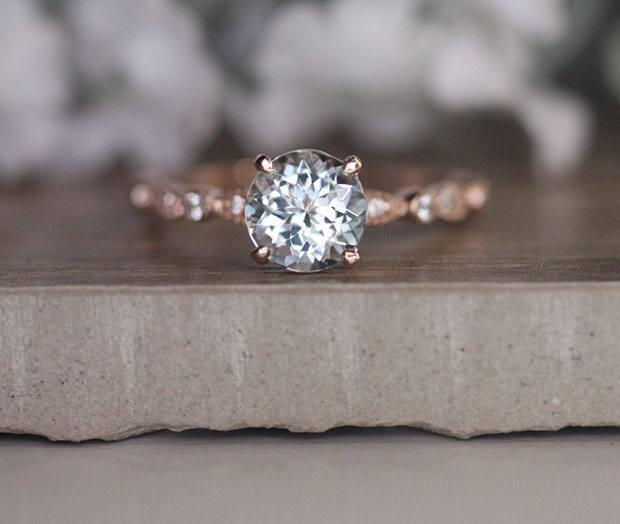 Wedding - Round 7mm Aquamarine Engagement Ring in 14k Rose Gold, Diamond Milgrain Bridal Ring, Natural Aquamarine and Diamond Wedding Ring Set