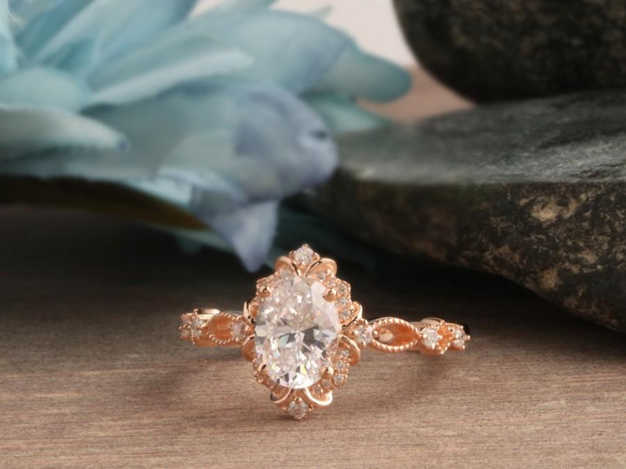 Wedding - Floral Oval Moissanite Ring, 6x8mm Oval Cut Moissanite Ring, 14k Rose Gold Engagement Ring, Milgrain Art Deco Ring, Promise Wedding Ring