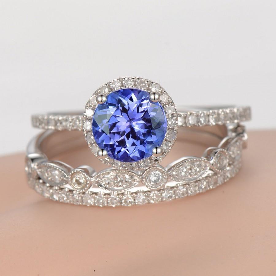 Wedding - 3pcs Tanzanite engagement ring set diamond wedding ring solid 14k white gold milgrain matching band 1.15ct Blue tanzanite half eternity ring