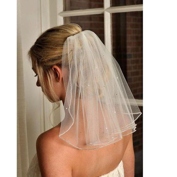 """زفاف - Ivory, White or pale ivory bridal wedding veil 25"""" shoulder length scattered Swarovski Crystals or diamantes cut or pencil edged 1 tier veil"""