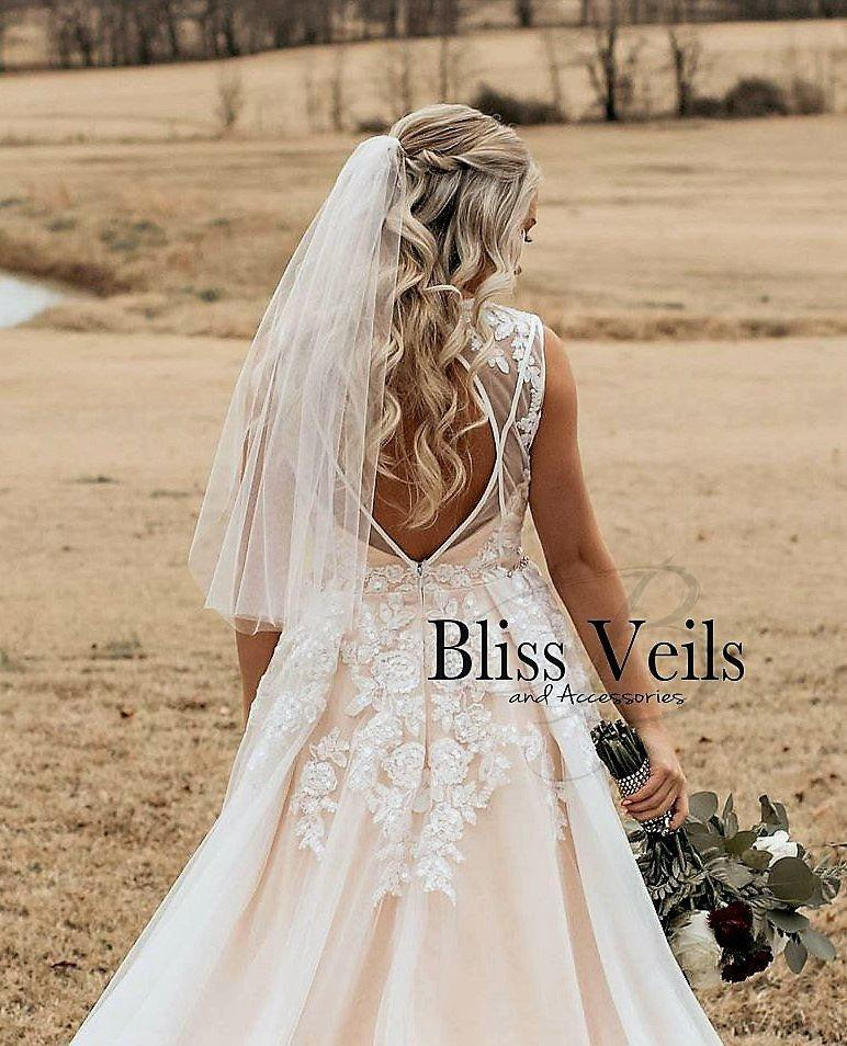 زفاف - Sheer Thin Elbow Wedding Veil  - Available in 9 Lengths & 10 Colors, Fast Shipping!