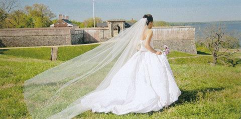 زفاف - Cascading Cathedral veil single layer  white, ivory  abusymother wedding veils