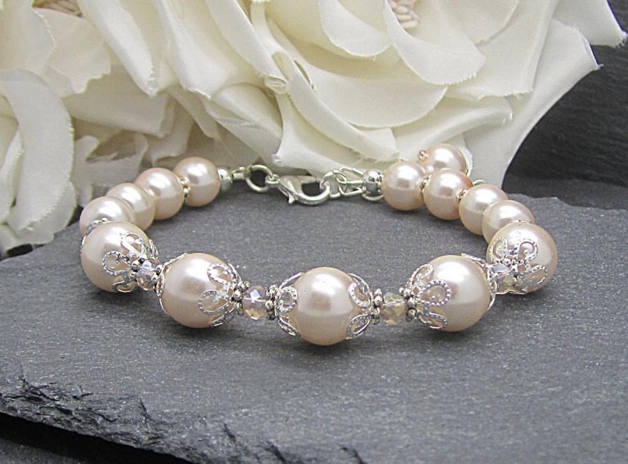 Mariage - Blush Bridesmaid Jewellery, Blush Pearl Bracelet, Bridesmaid Sets, Crystal Wedding Jewellery, Bridal Party Gift, Blush Wedding