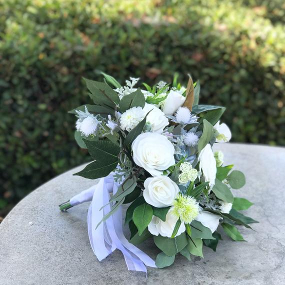 Wedding - White paper flower bridal bouquet with silk greenery and accents