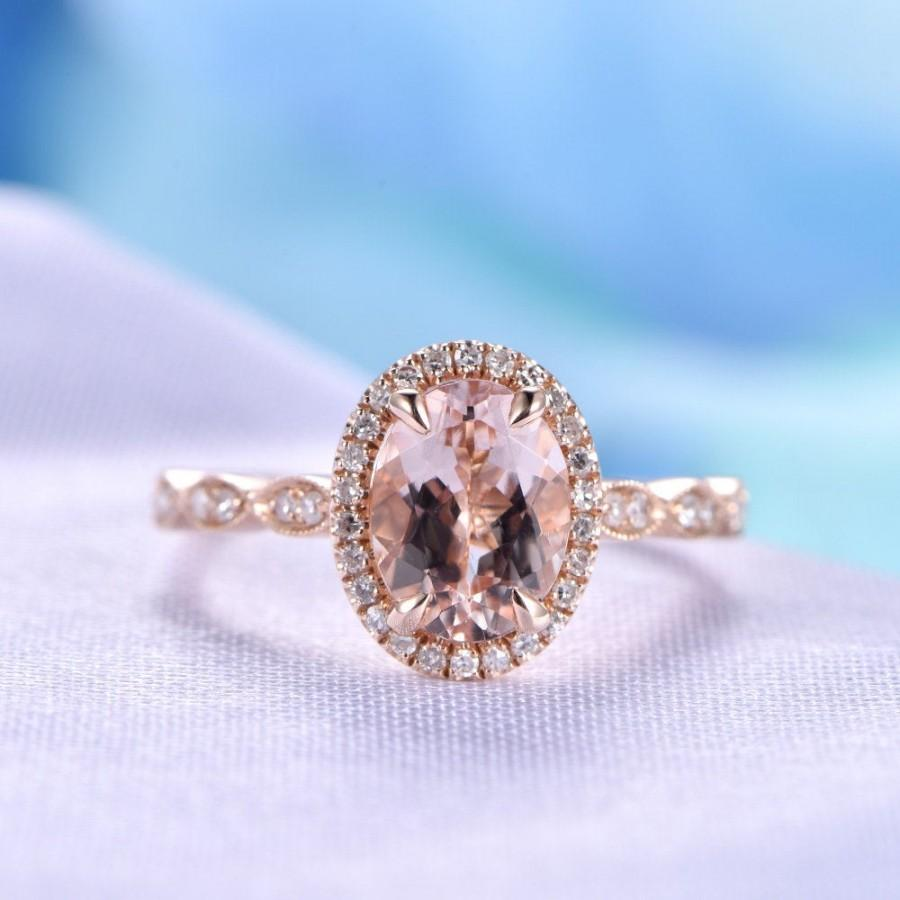 Hochzeit - Morganite Engagement Ring 6x8mm Oval Cut Pink Morganite Ring Art Deco Wedding Ring Promise Ring Personalized for him/her Vintage Style Ring