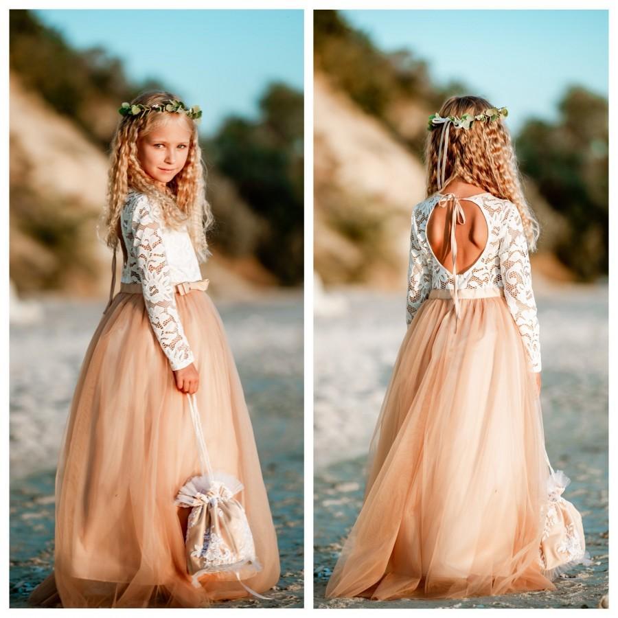 Hochzeit - Flower girl dress Wedding girl dress Lace girl dress Junior bridesmaid dress Birthday dress Nude girl dress Baby dress Girl party dress