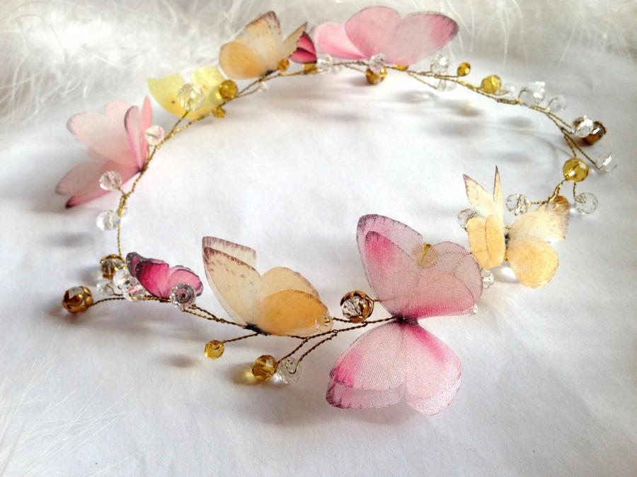 Свадьба - Bridal Fluttering Silk Butterfly Wings Halo for those Who Love Butterflies, Wedding Silk wreath, Bride head accessory, Wedding Flower crown