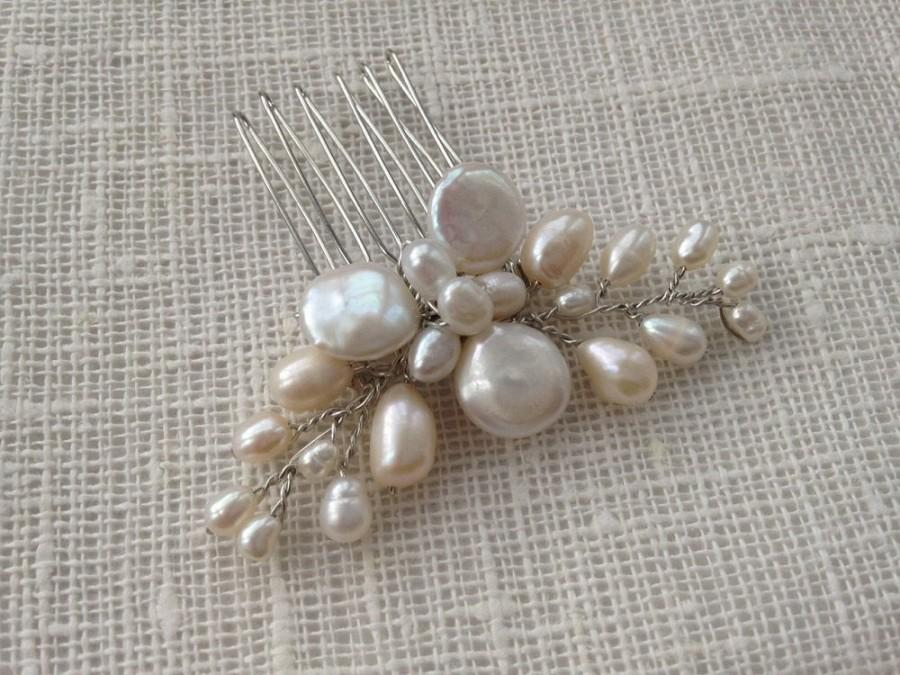 Wedding - Delicate freshwater pearl hair comb, bridal hair comb, wedding hair comb, bridal accessories, bridal headpiece, wedding hair piece