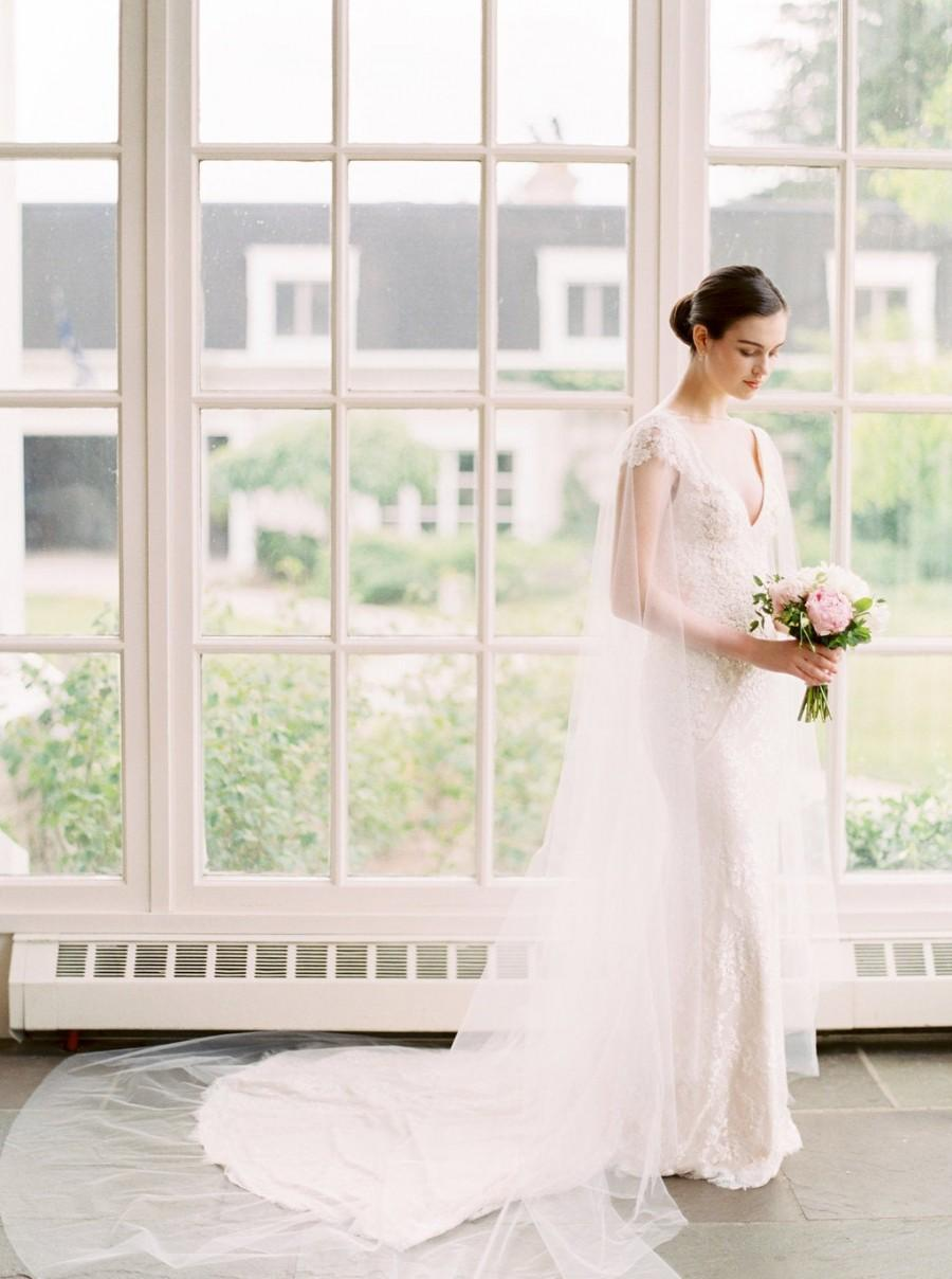 زفاف - bridal cape veil, wedding cape, shoulder veil, bridal cape, bridal cover up, wedding coverup, tulle cape, cathedral cape, long cape - DEVON