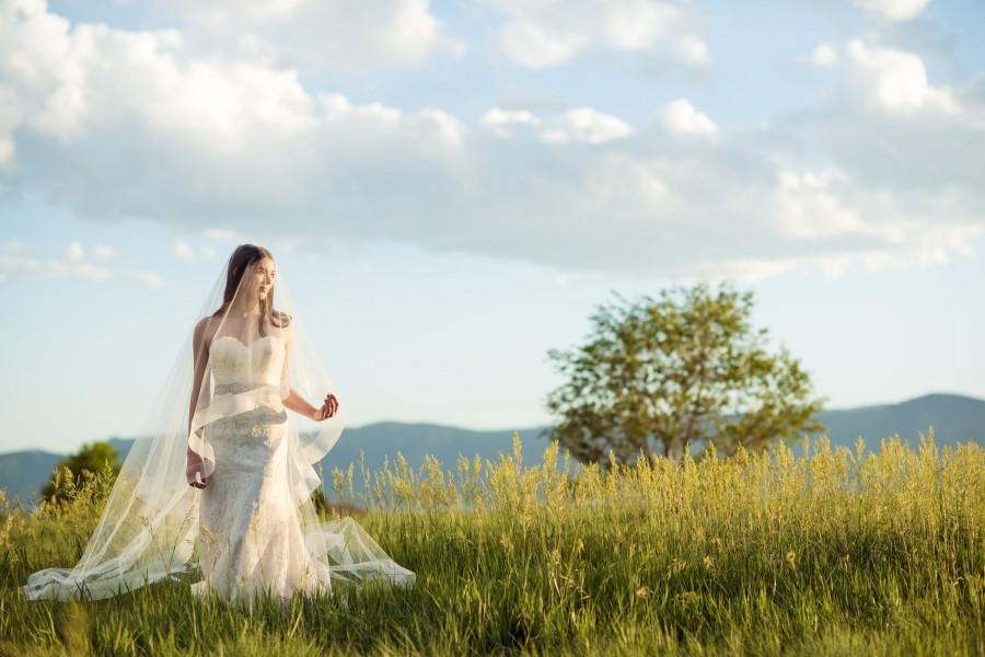 """زفاف - BELLA two tier veil with 3"""" horsehair trim chapel length with fingertip blusher stunning unique handmade custom blush lilac ivory white"""
