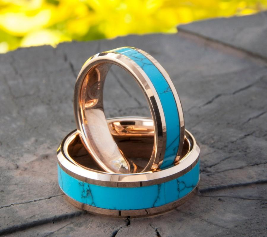 Wedding - Turquoise Tungsten Ring Rose Gold Wedding Bands Men Women Anniversary Gift 8MM 6MM Size 4-14 His Her Duo Set or One Engagement Promise Ring