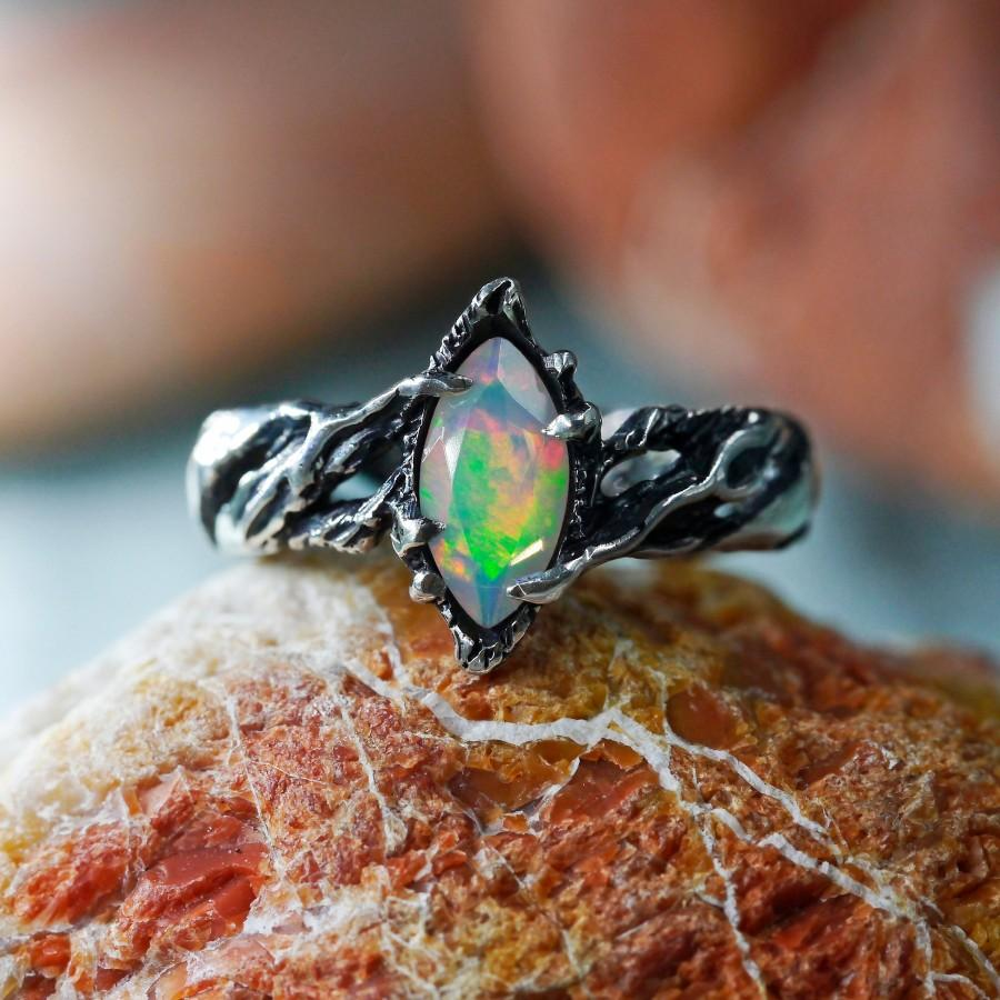 """Wedding - Ethiopian Fire Opal Ring """"Vivienne"""" MADE TO ORDER, fire opal engagement ring, Sterling Silver ring, welo opal, marquise opal, twig ring"""