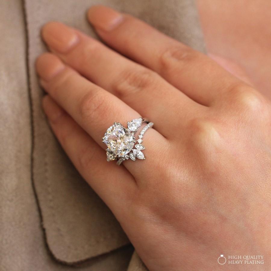 Свадьба - 5.21 cttw • Antique Cushion Cut Center Three Stone Engagement Ring w/ Tiara Half Wedding Band Ring • Dainty Bridal Set [61437-2T]