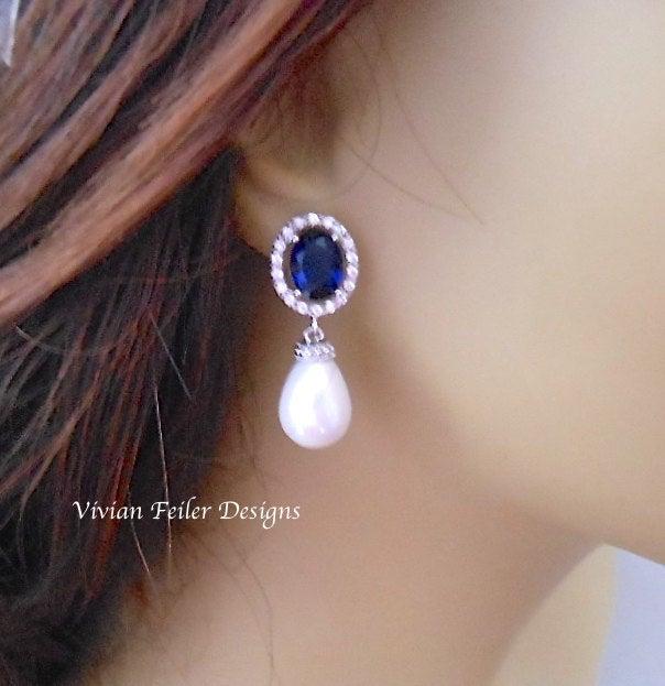 Mariage - Bridal PEARL Earrings, SAPPHIRE BLUE Earrings, Tear Drop Cubic Zirconia Wedding Jewelry Bridesmaid Gift Prom