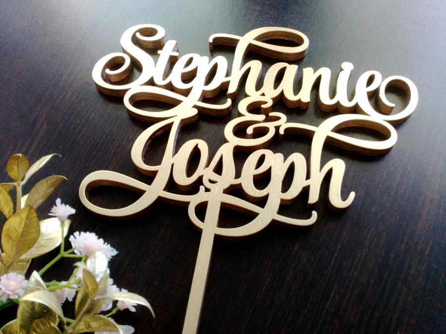 Свадьба - Personalised Wedding Cake Topper With Names Unique cake topper gold Rustic cake topper wooden cake topper names cake topper wood custom cake