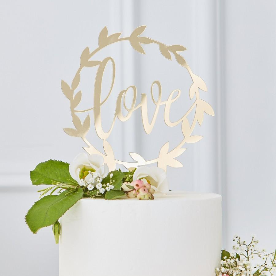 Mariage - Love Cake Topper Wedding Cake Plug Gold Deco