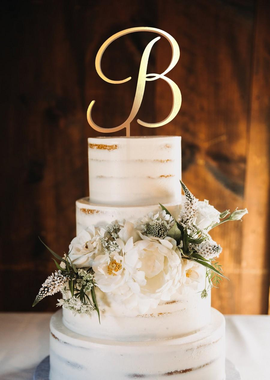 Mariage - Wedding Cake Topper Letter B Cake Topper Initials Cake Topper Single Letter Cake Topper B Personalised cake topper wooden gold b toppers