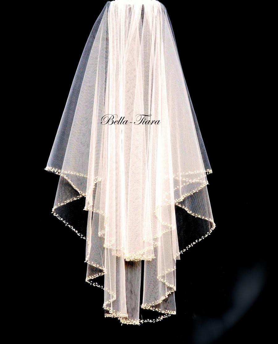زفاف - beaded edge wedding veil, wedding veil, 2 tier veil, wedding veils, ivory wedding veil, crystal pearl edge veil, veil with blusher