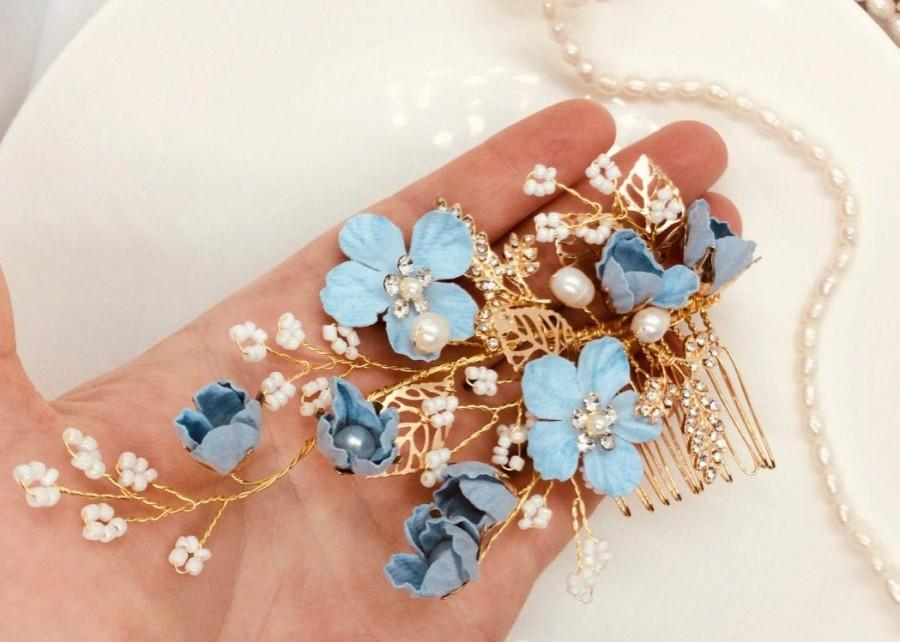 Mariage - Blue Bridal Hair Vine, Something Blue Hair Comb, Floral Hair Comb, Pearl Vine Headpiece, Blue Hair Comb, Gold Veil Comb, Wedding Back Comb