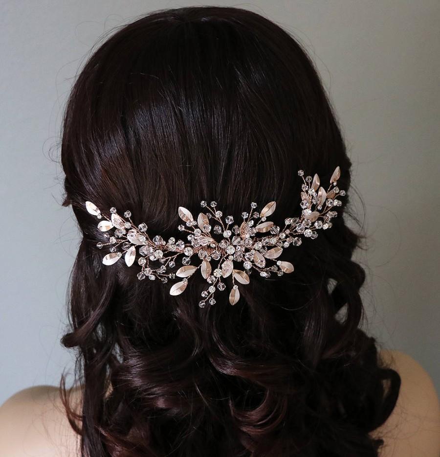 زفاف - Swarovski Rose Gold Bridal Comb, Rhinestone Comb, Bridal Comb Crystal, Wedding Crystal Hair Comb, Peyton Swarvoski Rose Gold Comb