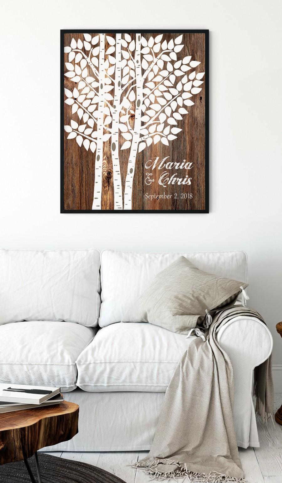 Mariage - Rustic wedding decor guest sign, Wedding Tree Signature, Personalized Wedding sign, Wedding Tree Guest Book, Aspen Tree Wedding Decor