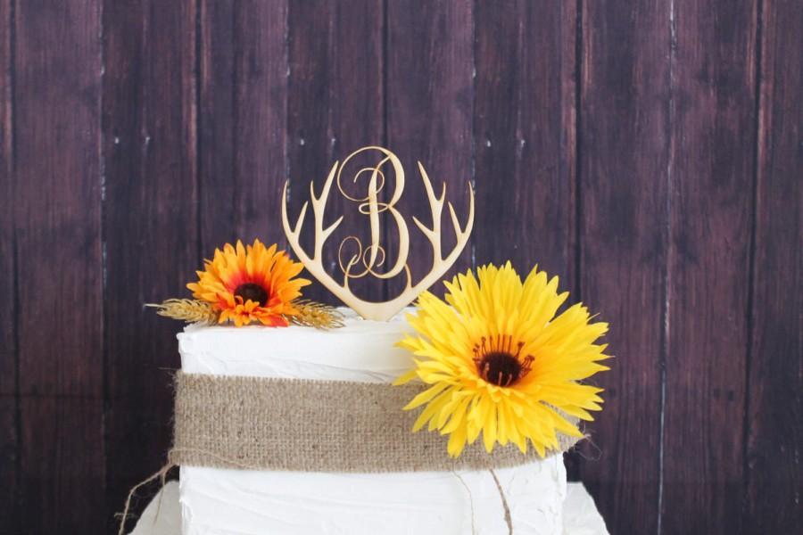 Mariage - Cake Topper-Wooden Deer Antlers-Laser Engraved Antler Rack Cake Topper-Rustic Cake Topper-Wood Cake Topper-Personalized Cake Topper