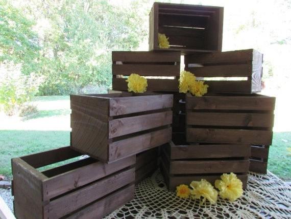 زفاف - 10in or 18in rustic wooden crates / table centerpieces / Rustic wedding / reception decor / flower vase / planter box / barn wedding / diy