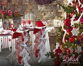 زفاف - Christmas Chair Sashes- Red and White. Sets of either 2, 4, 5, 6, 8 or 10 Chair Sashes.  Includes Free Shipping!