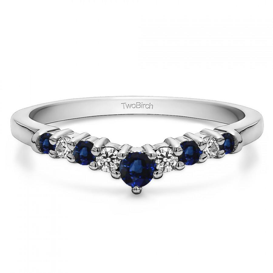 Свадьба - Chevron Inspired Curved Band Set in Sterling Silver with Diamonds and Sapphires (0.32ct) - Wedding Band - Curved Ring