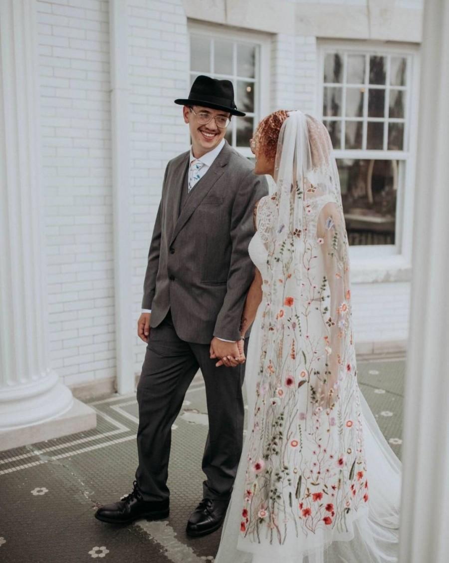 Wedding - Floral veil ,secret garden veil, boho veil,  wild flower veil, butterfly veil, embroidered veil, flower and fawna, romantic veil,bridal veil